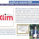 """AIMER Younes, a recus le prix de la meilleure publication lors de la conférence internationale initulée """"The 3rd international workshop on wireless communication and network (IWWCN 2017)"""""""