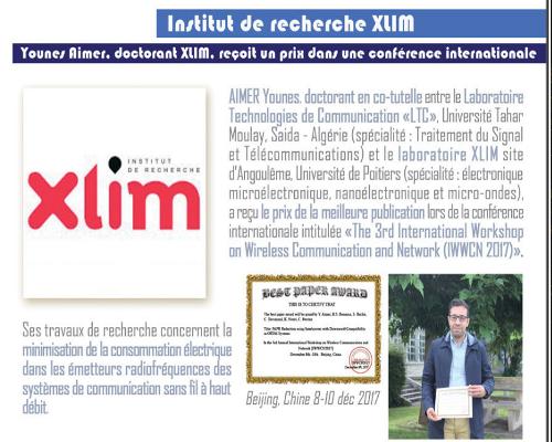 AIMER Younes, a recus le prix de la meilleure publication lors de la conférence internationale initulée « The 3rd international workshop on wireless communication and network (IWWCN 2017) »