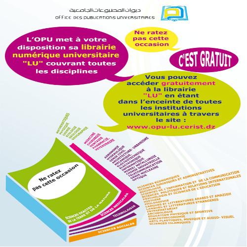La librairie Numérique Universitaire « OPU-LU » (Office National des Publications Universitaires)
