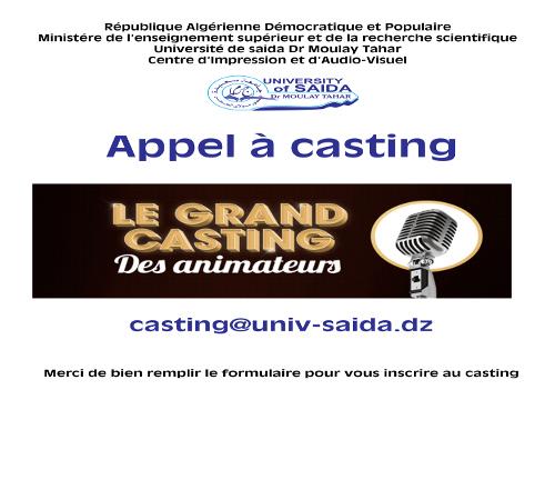 Appel à casting (Le grand casting des animateurs)