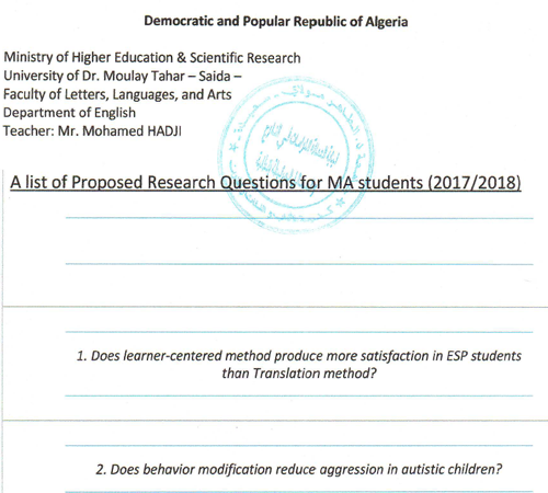 A list of proposed research questions for MA students 2017/2018