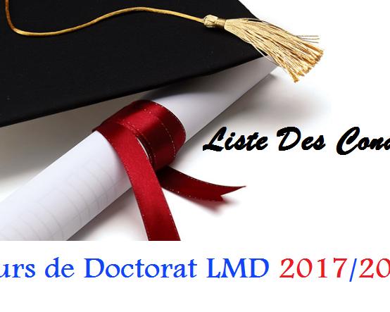 Résultats de présélection des candidats au concours de Doctorat LMD 2017/2018